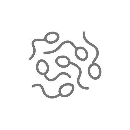 Sperm cells, spermatozoon line icon. Isolated on white background