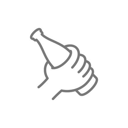 Vector hand holding beer bottle line icon. Symbol and sign illustration design. Isolated on white background