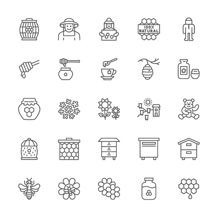Set of Honey Line Icons. Beekeeper, Protective Suit, Apiary, Beehive and more.