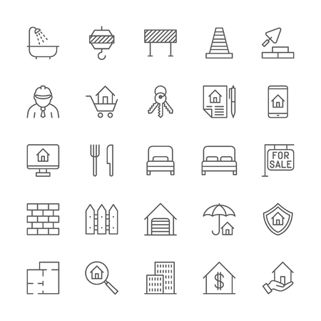 Set of Real Estate and Construction Line Icons. Bathroom, Industrial Crane, Road Barrier, Traffic Cone, Architect, Brick Wall, Floor Plan and more. Pack of 48x48 Pixel Icons