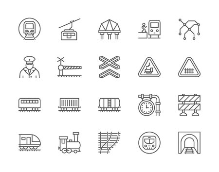 Set of Train and Railways Line Icons. Funicular, Subway Map, Locomotive and more