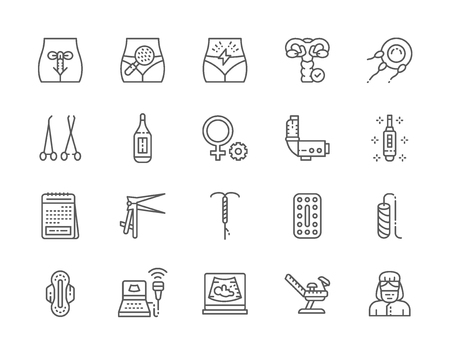 Set of Gynecology Line Icons. Thermometer, Pregnancy Test, Tampon and more