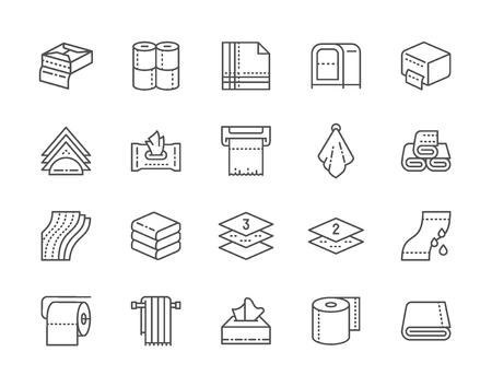 Set von Handtüchern und Servietten Liniensymbole. Feuchttücherpaket, Toilettenpapier, Serviettenhalter, Papierhandtuchspender, Händetrockner und mehr. Packung mit 48x48 Pixel Icons