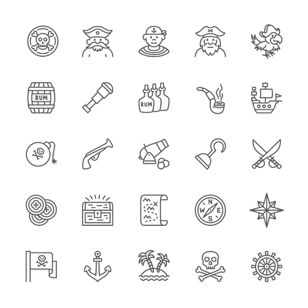 Set of Pirates Line Icons. Sailor, Captain, Parrot, Ship, Cannon, Compass, Anchor and more. Pack of 48x48 Pixel Icons