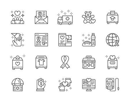 Reihe von Symbolen für Wohltätigkeits- und Spendenleitungen. Freiwilligenarbeit, Erste-Hilfe-Set und mehr.