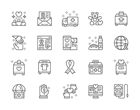 Set of Charity and Donation Line Icons. Volunteering, First Aid Kit and more.