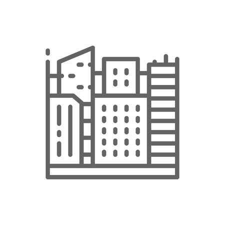 Vector big city, megapolis landscape line icon. Symbol and sign illustration design. Isolated on white background
