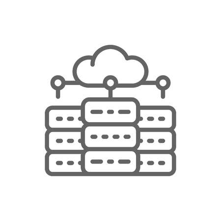 Vector web hosting server, data centre, distributed database line icon. Symbol and sign illustration design. Isolated on white background