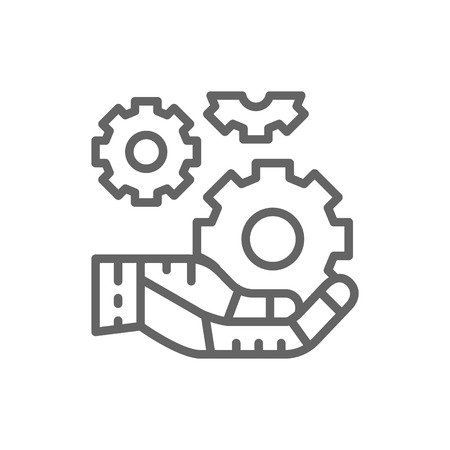 Vector hand holds a gear, tech development, engineering, technology line icon. Symbol and sign illustration design. Isolated on white background