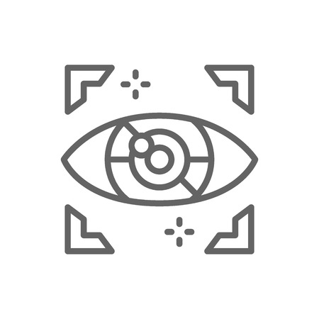 Artificial intelligence eye, cyber spying, computer surveillance line icon.