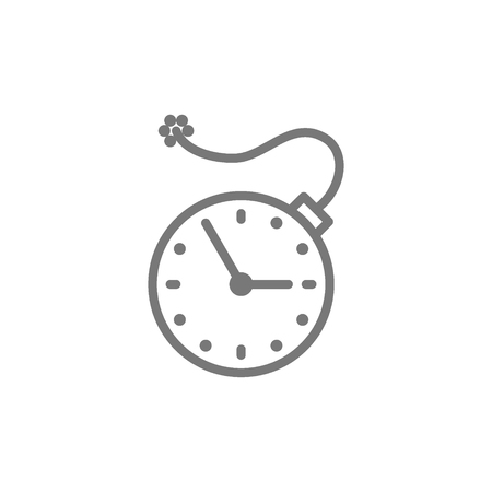 Vector clock with bomb, explosion timer, deadline line icon. Symbol and sign illustration design. Isolated on white background