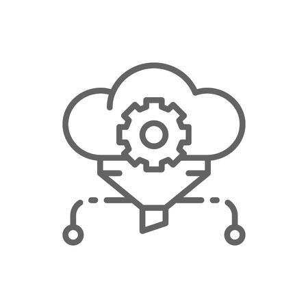 Filtro de nube de vector, big data, icono de línea de base de datos de servicio. Diseño de ilustración de símbolo y signo. Aislado sobre fondo blanco