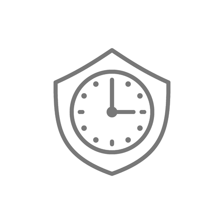 Vector clock with shield, security time line icon. Symbol and sign illustration design. Isolated on white background