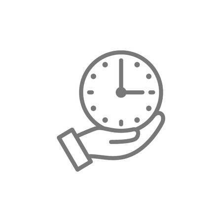 Vector clock in hand, time management line icon. Symbol and sign illustration design. Isolated on white background Stock Vector - 122868508