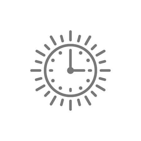 Vector sun time, long day, light daytime line icon. Symbol and sign illustration design. Isolated on white background Ilustrace