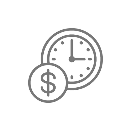 Vector time is money, clock with coin line icon. Symbol and sign illustration design. Isolated on white background