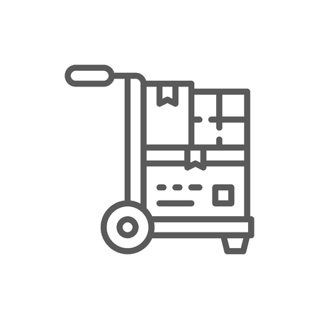 Wheelbarrow with parcels, delivery line icon.