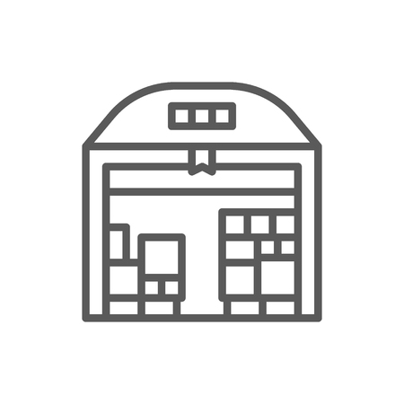 Vector warehouse with parcels line icon. Symbol and sign illustration design. Isolated on white background