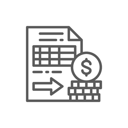 Vector documents with money, options, futures line icon. Symbol and sign illustration design. Isolated on white background Vettoriali
