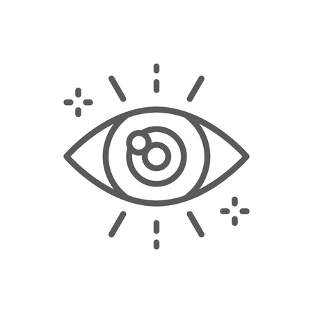 Business look, attentive eye line icon.