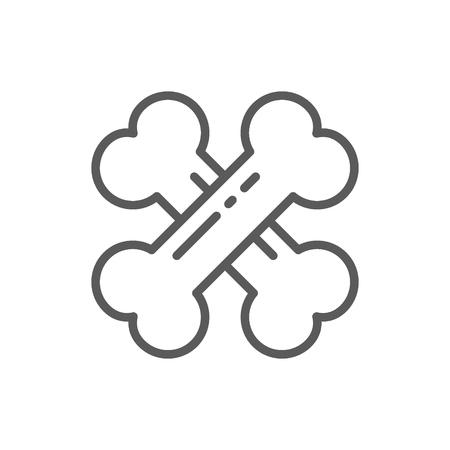 Crossed bones line icon. Ilustração