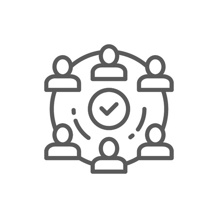 Vector people team in project line icon. Symbol and sign illustration design. Isolated on white background Vectores