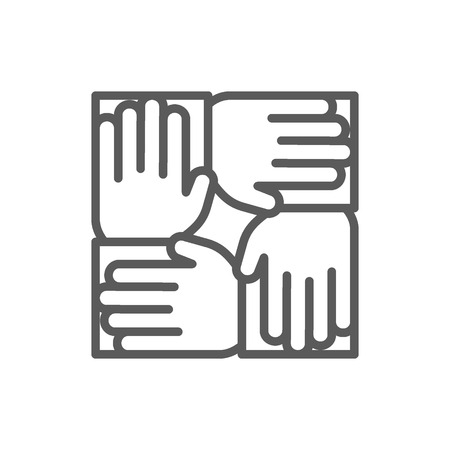 Vector teamwork line icon. Symbol and sign illustration design. Isolated on white background