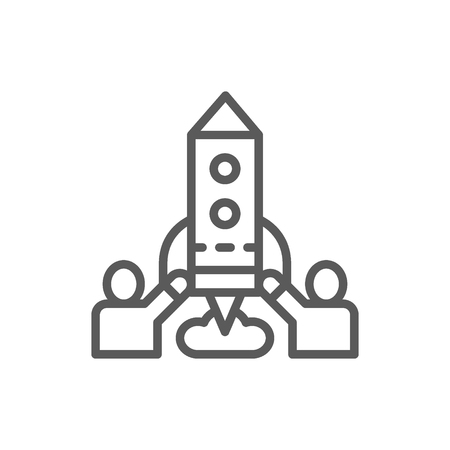 Vector team of people launches rocket, startup line icon. Symbol and sign illustration design. Isolated on white background Ilustração
