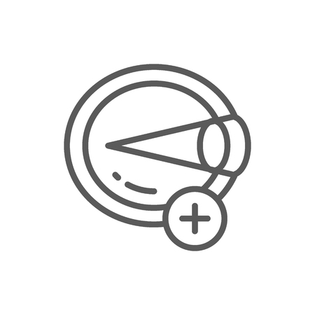 Vector hyperopia, eye disease, astigmatism line icon. Symbol and sign illustration design. Isolated on white background Illustration