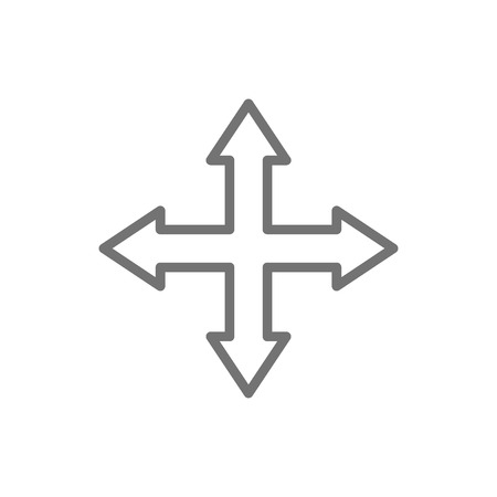 Arrows pointing in different directions, four way, navigation line icon.