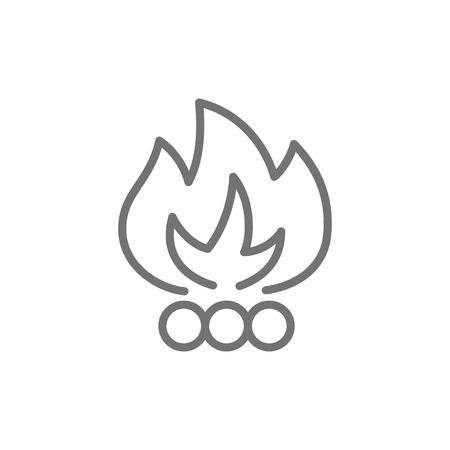 Bonfire, waste incineration, garbage line icon. Ilustração