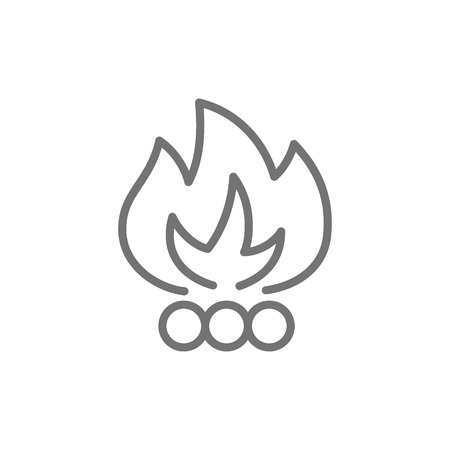 Bonfire, waste incineration, garbage line icon. Illustration