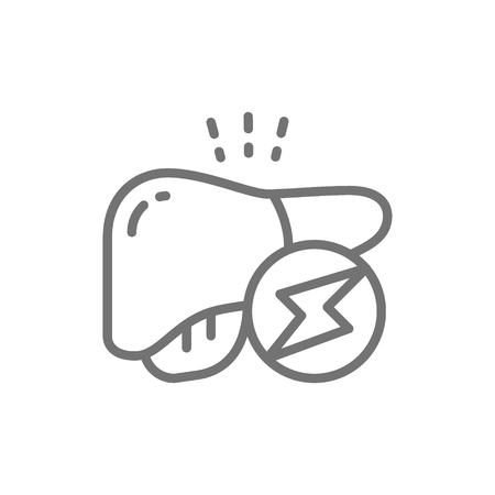 Wektor otyłość wątroby, ikona linii trzewnej tkanki tłuszczowej. Projekt ilustracja symbol i znak. Na białym tle