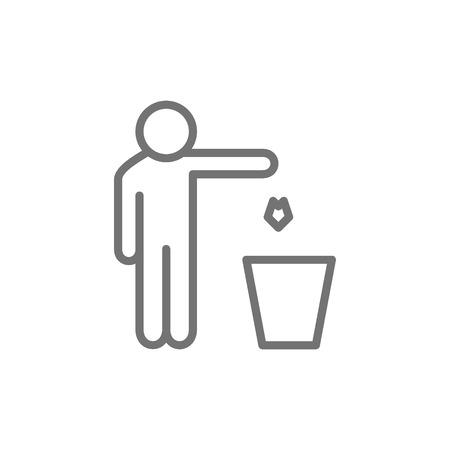 Mann wirft Abfall aus, Mülleimer-Symbol.