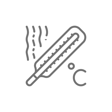 Thermometer, high temperature, fever line icon. Stock Illustratie