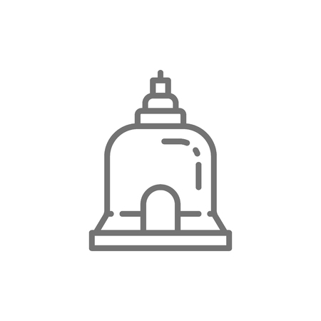 Vector Traditional Monastery in Pattaya, Thailand line icon. Symbol and sign illustration design. Isolated on white background