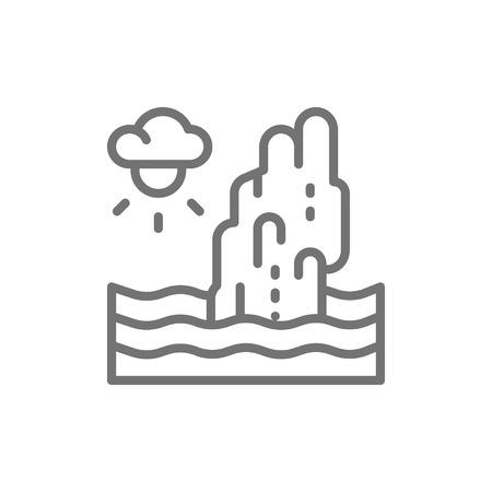 Koh Tapu Rock, James Bond Island, Thailand line icon. Illustration