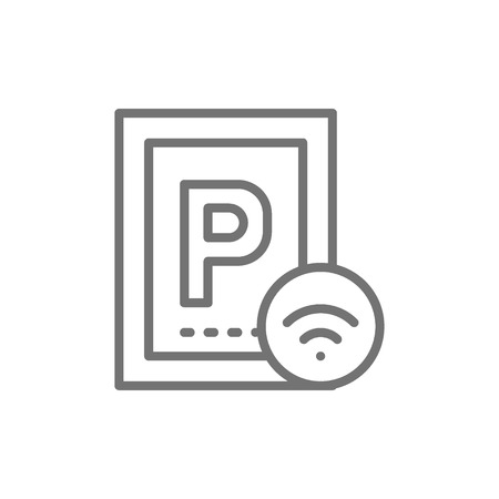 Car parking with Wi-Fi, smart parking area line icon.