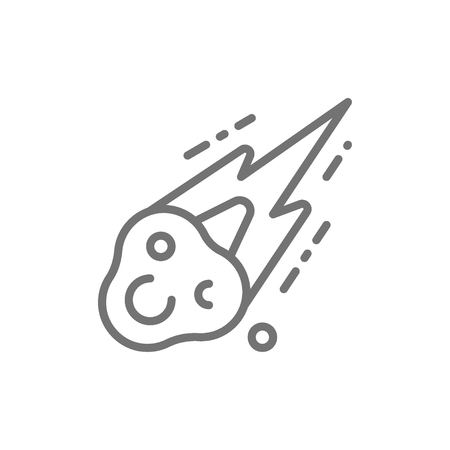 Meteorite, meteor rain fall line icon.