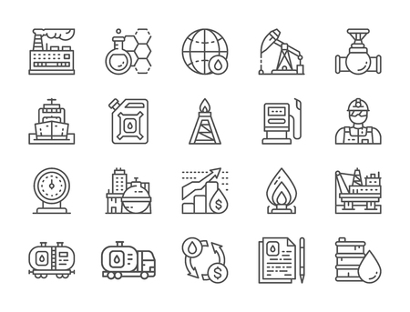 Set of Oil Industry Line Icons. Fuel Truck, Engineer, Factory and more.