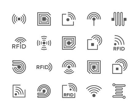 Satz von RFID-Chip-Liniensymbolen. Antenne, Schaltung, Tag, Draht, Drahtlos und mehr. Vektorgrafik