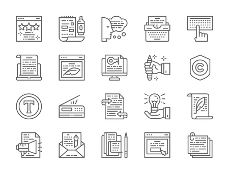 Set of Copywriting Line Icons. Typewriter, Presentations, Printer and more.