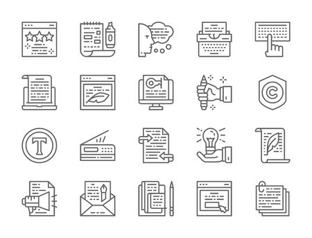 Set of Copywriting Line Icons. Typewriter, Presentations, Printer and more.