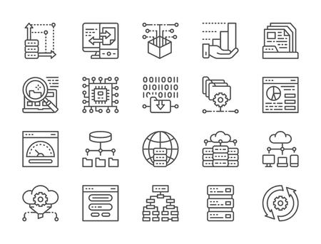 Set of Data Analysis Line Icons. Hosting, Program Algorithm, Database and more.