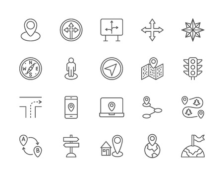 Set of Navigation Line Icons. Compass, Location Pin, GPS Navigation and more. Illustration