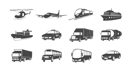 Set of Transport Symbols. Helicopter, Airplane, Train, Cargo Ship and more.