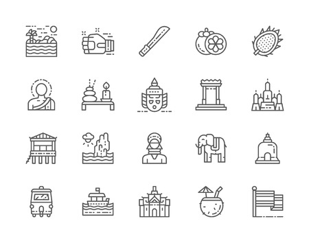 Set of Thailand Culture Line Icons. Machete, Muay Thai, Mangosteen and more. Illustration