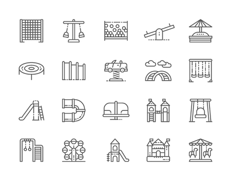 Set of Playground Line Icons. Climbing Rope Net, Swing, Double Seesaw and more.
