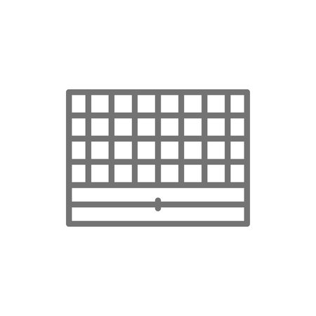 Chess board, portable game line icon.
