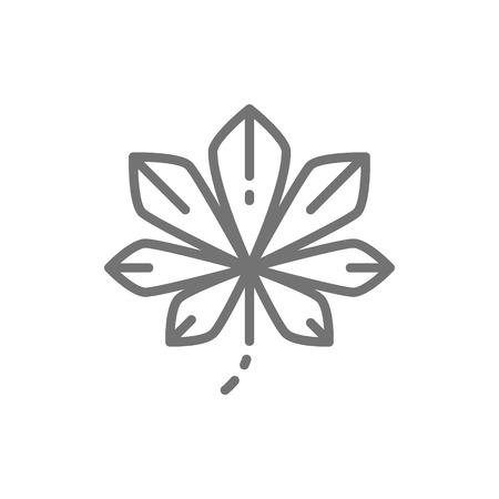 Chestnut tree leaf, Kyiv chestnuts line icon. Ilustração